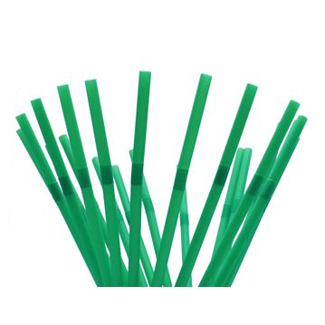 Biodegradable and Compostable PLA Flexible Straw Individually Wrapped in Paper - Green Ø6x240mm 400un
