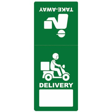 Etiqueta Autocolante Delivery e Take-Away 60x150mm Rolos 1000un