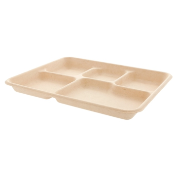 BIONIC Rectangular 5 compartments Container in Sugar Cane 265x251x20mm 500pcs