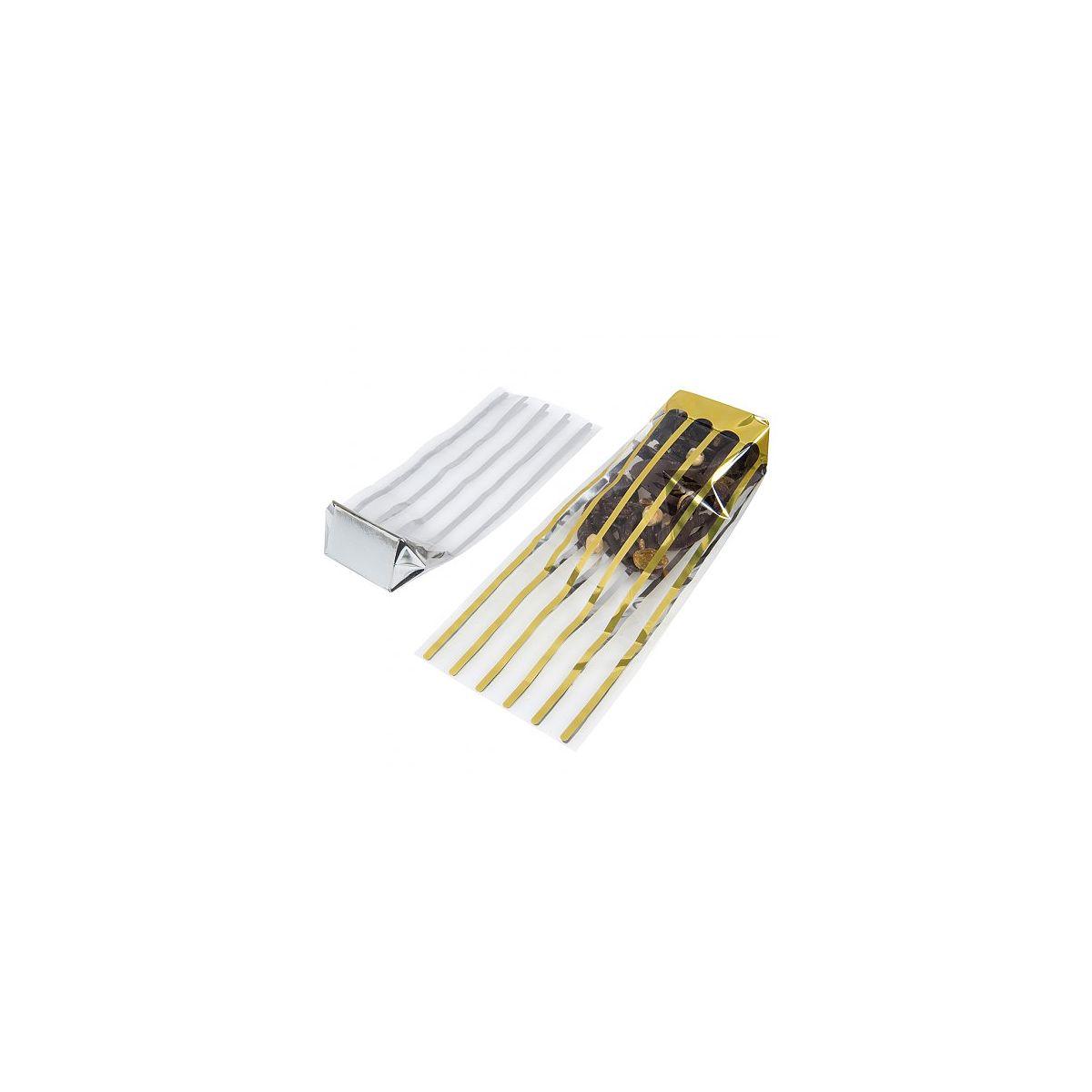e714f4a01 Saqueta de Celofane Transparente com Riscas Douradas 120x275mm 100un.  Clique para aumentar